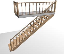 Прямая одномаршевая деревянная лестница