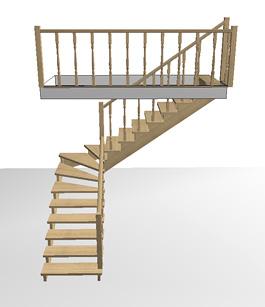 Поворотная деревянная лестница с забежными ступенями