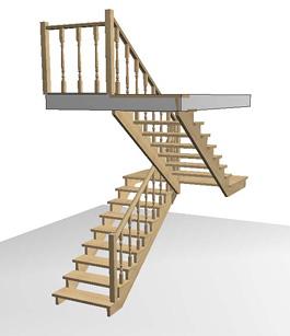 Разворотная деревянная лестница с площадкой ступенями
