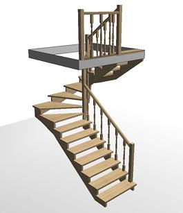 Разворотная деревянная лестница с забежными ступенями